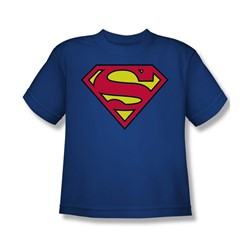 Superman - Classic Logo Youth T-Shirt In Royal Blue