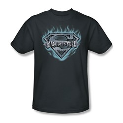 Superman - Man Of Steel Shield Adult T-Shirt In Charcoal