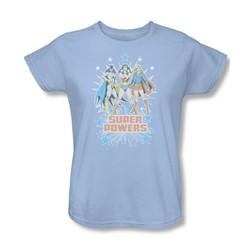 Dc Comics - Super Powers Times 3 Womens T-Shirt In Light Blue