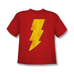 Dc Comics - Shazam Logo Distressed Big Boys T-Shirt In Red