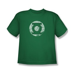 Dc Comics - Distressed Lantern Logo Big Boys T-Shirt In Kelly Green