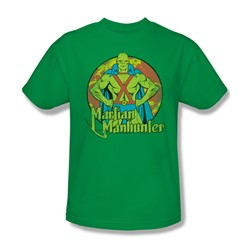 Dc Comics - Martian Manhunter Circle Adult T-Shirt In Kelly Green
