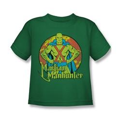 Dc Comics - Martian Manhunter Circle Little Boys T-Shirt In Kelly Green