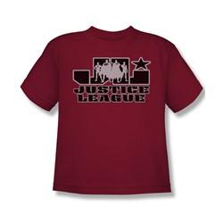 Justice League - Jl Logo Big Boys T-Shirt In Cardinal