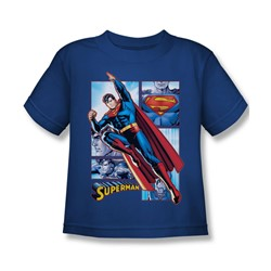 Justice League - Superman Panels Little Boys T-Shirt In Royal Blue