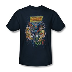 Justice League - Star Group Adult T-Shirt In Navy