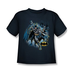 Justice League - Batman Collage Little Boys T-Shirt In Navy