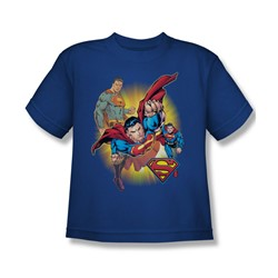Justice League - Superman Collage Big Boys T-Shirt In Royal Blue