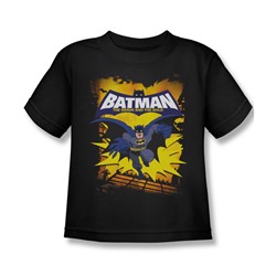Batman - Rooftop Leap Little Boys T-Shirt In Black