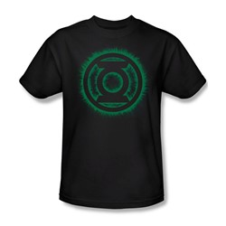 Green Lantern - Green Flame Logo Adult T-Shirt In Black