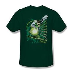 Green Lantern - Flying Oath Adult T-Shirt In Hunter Green