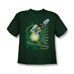 Green Lantern - Flying Oath Big Boys T-Shirt In Hunter Green