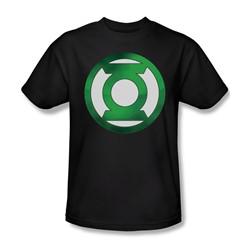 Green Lantern - Green Chrome Logo Adult T-Shirt In Black