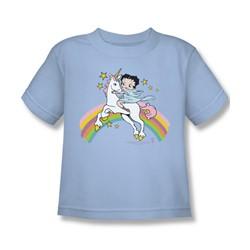 Betty Boop - Unicorns And Rainbows Juvee T-Shirt In Light Blue