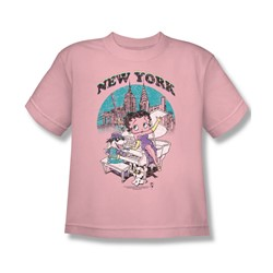Betty Boop - Singing In New York Big Boys T-Shirt In Pink