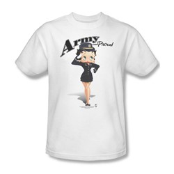 Betty Boop - Army Boop Adult T-Shirt In White