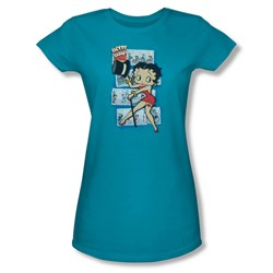 Betty Boop - Comic Strip Juniors T-Shirt In Turquoise