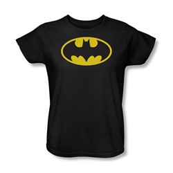 Batman - Classic Batman Logo Womens T-Shirt In Black