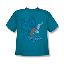 Mighty Mouse - Double Mouse Big Boys T-Shirt In Turquoise