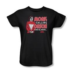 Mork & Mindy - Mork Calling Orson Womens T-Shirt In Black