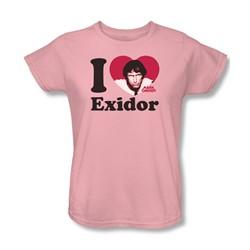 Mork & Mindy - I Heart Exidor Womens T-Shirt In Pink