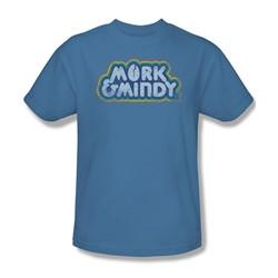Mork & Mindy - Distressed Mork Logo Adult T-Shirt In Carolina Blue