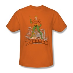 Aquaman - Aquaman Distressed Adult T-Shirt In Orange