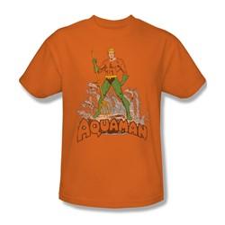 Aquaman - Aquaman Distressed Adult T-Shirt In Orange