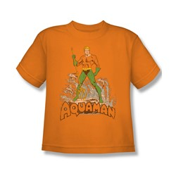 Aquaman - Aquaman Distressed Big Boys T-Shirt In Orange