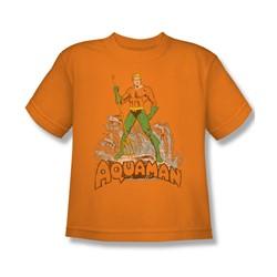 Aquaman - Aquaman Distressed Youth T-Shirt In Orange