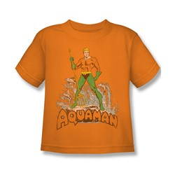 Aquaman - Aquaman Distressed Juvee T-Shirt In Orange
