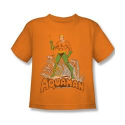 Aquaman - Aquaman Distressed Juvee T-Shirt In Orange