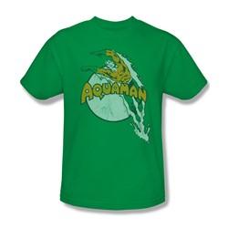 Aquaman - Splash Adult T-Shirt In Kelly Green