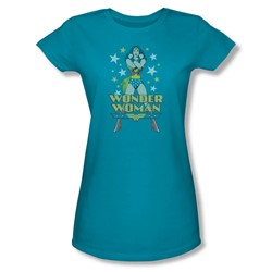 Wonder Woman - A Wonder Juniors T-Shirt In Turquoise