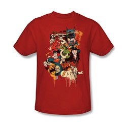 Dc Originals - Dripping Characters Adult T-Shirt In Red
