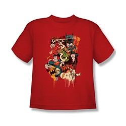 Dc Originals - Dripping Characters Big Boys T-Shirt In Red
