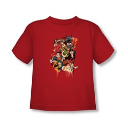Dc Originals - Dripping Characters Toddler T-Shirt In Red