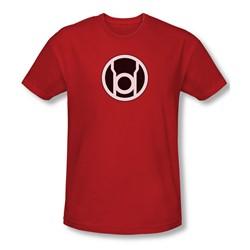 Green Lantern - Red Lantern Symbol Slim Fit Adult T-Shirt In Red