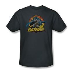 Justice League - Batman Rough Distress Adult T-Shirt In Charcoal