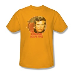 The Six Million Dollar Man - Run Faster Adult T-Shirt In Gold