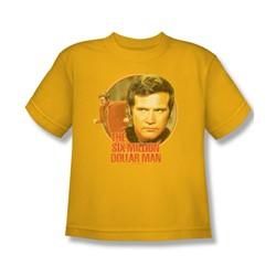 The Six Million Dollar Man - Run Faster Big Boys T-Shirt In Gold