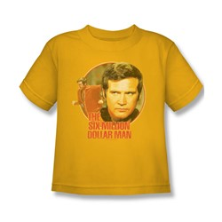 The Six Million Dollar Man - Run Faster Juvee T-Shirt In Gold