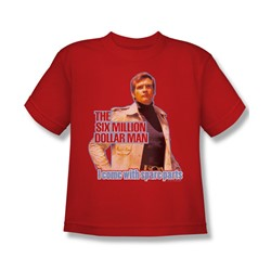 The Six Million Dollar Man - Spare Parts Big Boys T-Shirt In Red