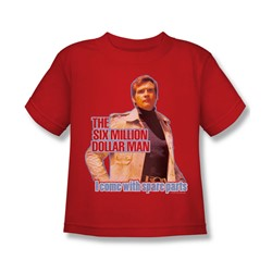 The Six Million Dollar Man - Spare Parts Juvee T-Shirt In Red
