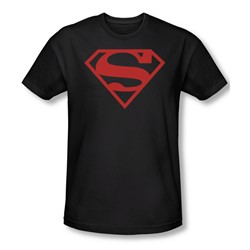 Superman - Red On Black Shield Slim Fit Adult T-Shirt In Black