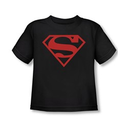 Superman - Red On Black Shield Toddler T-Shirt In Black