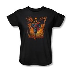 Superman - Through The Fire Womens T-Shirt In Black