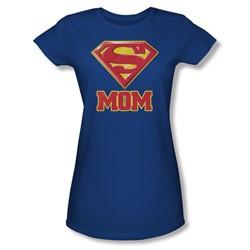 Superman - Super Mom Juniors T-Shirt In Royal