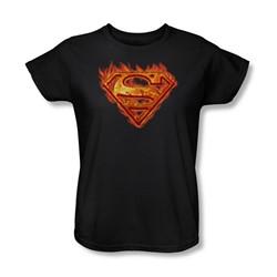 Superman - Hot Metal Shield Womens T-Shirt In Black