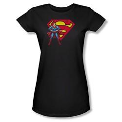 Superman - Superman & Logo Juniors T-Shirt In Black